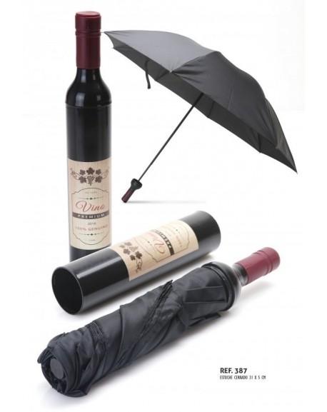 Paraguas hombre botella vino